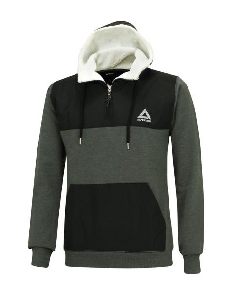 Winter Sweatshirt Crew Pro Line mit Kapuze und Zip Dunkel-MelangeSet-