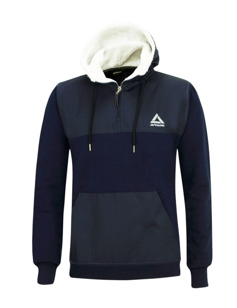 Winter Sweatshirt Crew Pro Line mit Kapuze und Zip Navy-Blau Set