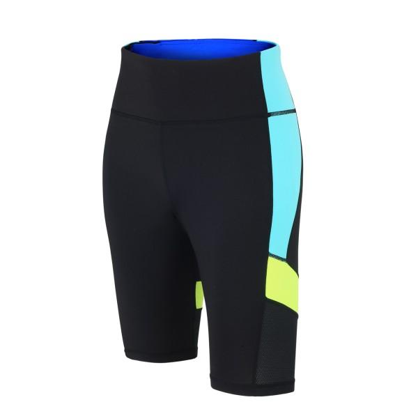 Damen Fitnesshose / Laufhose Kurz Schwarz Neon Red Decoct