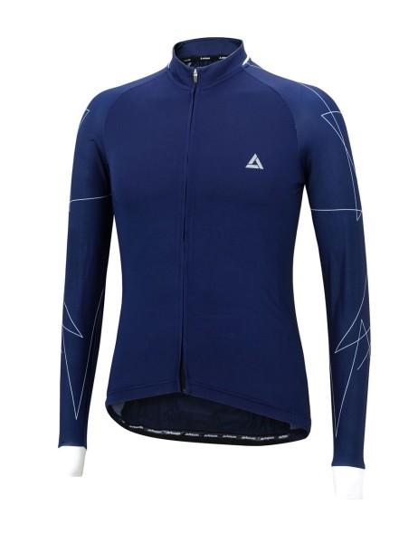 Fahrradtrikot Langarm Pro Line Navy Blau Weiß