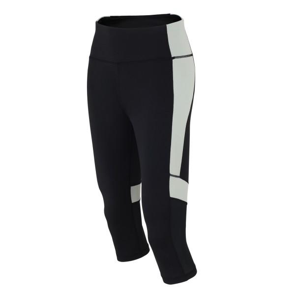 Damen Fitnesshose Laufhose 3/4 Schwarz Grau Red Decoct