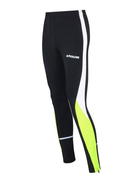 Damen Thermo Laufhose Tight Lang Schwarz Neon