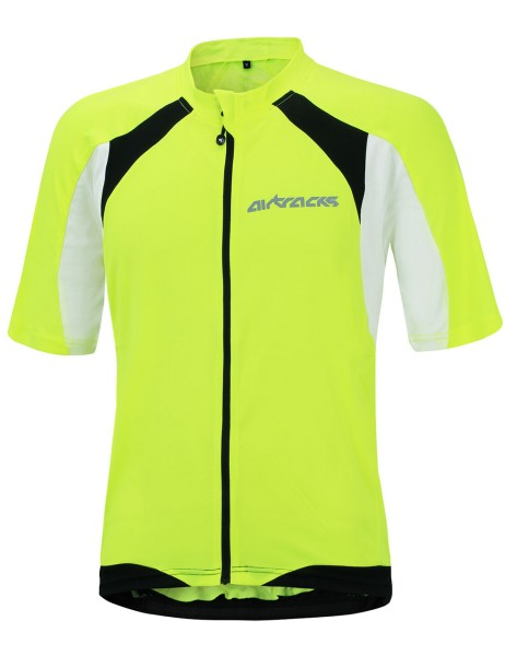 Fahrradtrikot Kurzarm Pro T Neon-Weiß