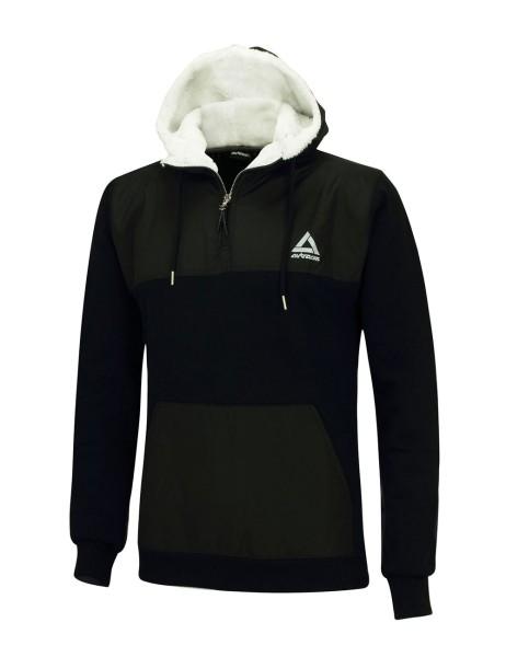 Winter Sweatshirt Crew Pro Line mit Kapuze und Zip Schwarz Set