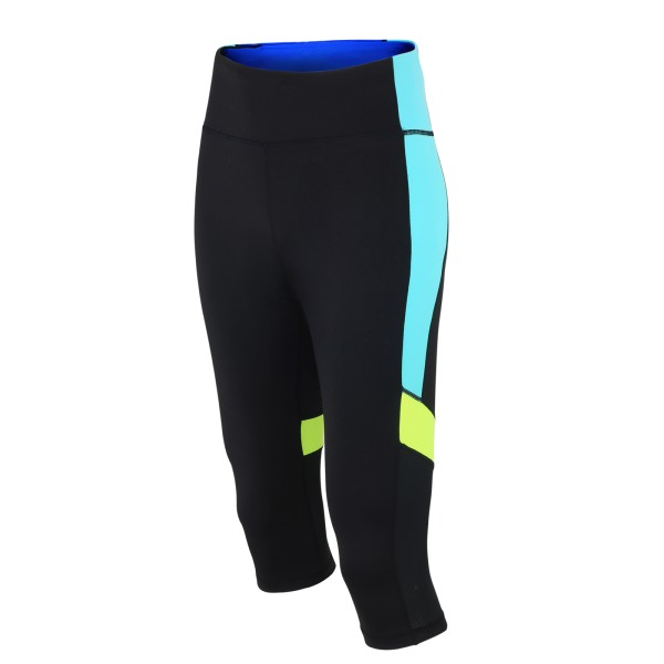 Damen Fitnesshose Laufhose 3/4 Schwarz Neon Red Decoct